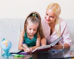 kvinna och barn som har lektion