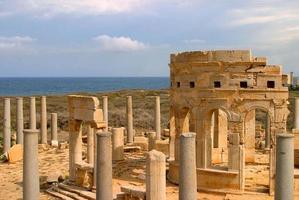 libyen, tripoli, leptis magna romerska arkeologiska platsen. - Unescos webbplats. foto