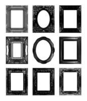 svarta antika bildramar. isolerad på vit bakgrund foto