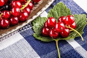 röd vinbär svamp kaka. tallrik med blandade sommarbär, hallon.