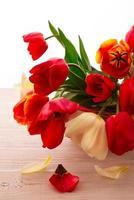 färgglada vårblommor bukett tulpaner foto