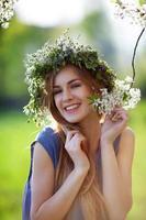 vacker flicka leende