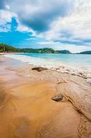 tropisk strand under dyster himmel