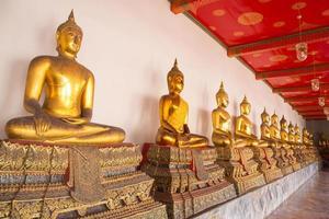 gyllene sittande buddha statyer i wat pho, bangkok, thailand foto