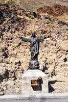 staty av Jesus Kristus i Mount Teide. tenerife. Spanien. kristen