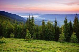 fantastisk solnedgång i bergen i Ukraina.