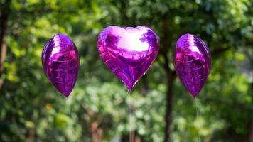 lila hjärta ballong foto