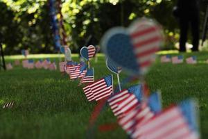 amerikanska flaggor och hjärtan foto