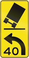 lutande lastbil - rådgivande hastighet i Australien