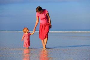 mor och liten dotter som går på stranden