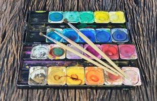 vattenfärg målarbox och pensel foto