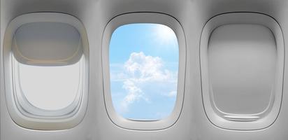 tre flygplansfönster