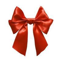 röd satäng gåva båge. band. isolerad på vitt foto