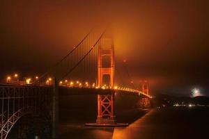 natt, belysning, Golden Gate Bridge.