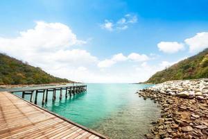 trä gångväg vid stranden
