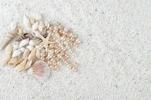 havsgåvor på sanden foto