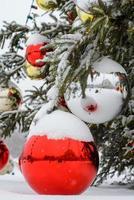 julgran med dekorationer foto