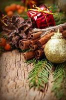 julkryddor kanelstänger, stjärnanis och grönt träd foto