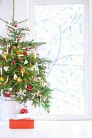 julgran vid ett fönster foto