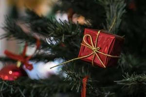 julgranleksak på en snöig gren foto