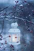 lykta som hänger på snöig gren foto