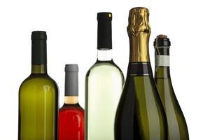 vitt och rosvin, champagne, prosecco-flaskor foto