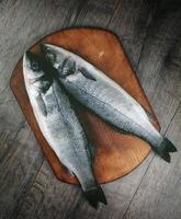 rå havsabborre fisk på träskivan foto