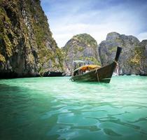 Thailand strand på tropisk ö. vacker resebakgrund