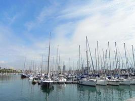 yacht hamn i Barcelona stad foto