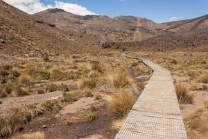strandpromenad över myrar i Tongariro nationalpark