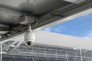 närbild cctv-kameror på taket