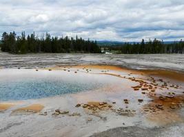 det blå vattnet i en geotermisk källa vid Yellowstone Park. foto
