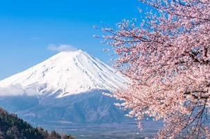 mt fuji och körsbärsblomning vid sjön kawaguchiko foto