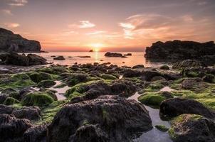 solnedgång på St Agnes i Cornwall Storbritannien
