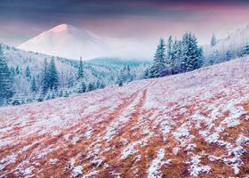 färgrik vintersoluppgång i de karpatiska bergen.