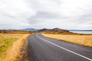 vacker bergsväg på Island foto