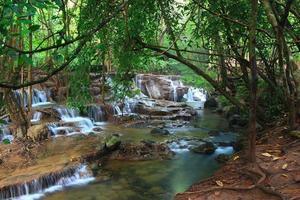huay mae khamin vattenfall i kanchanaburi thailand foto