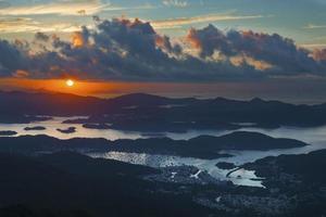 soluppgång i Hong Kong