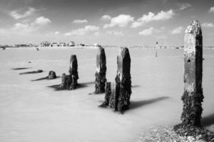 ebb tidvatten, flod deben vid bawdsey, suffolk, Storbritannien