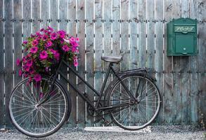 gammal vintagecykel med blommakorg