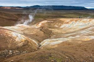 detalj från krafla vulkanområde med kokande lergrytor