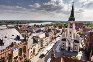 Polen - Torun, stad dividerad med Vistula River mellan Pommern