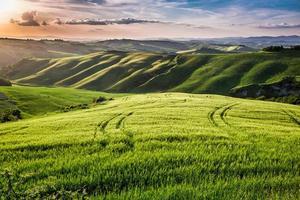 vacker utsikt över landets gångstig vid solnedgången i Toscana