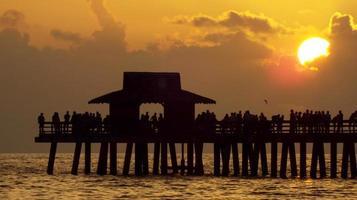 solnedgång naples florida pir foto