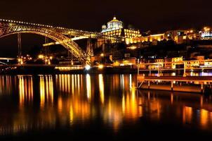 bro över floden i porto på natten