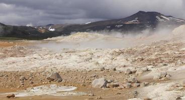 Island. krafla. aktiv vulkanzon. heta vulkaniska stenar.