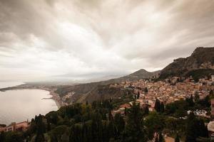 solnedgång i Taormina, Sicilien, Italien