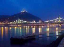 citadella och frihetsbro i budapest på natten.