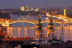 Donau River Night View i Budapest Ungern