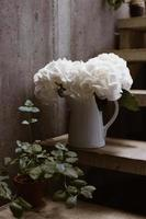 vita blommor i vit keramisk vas foto